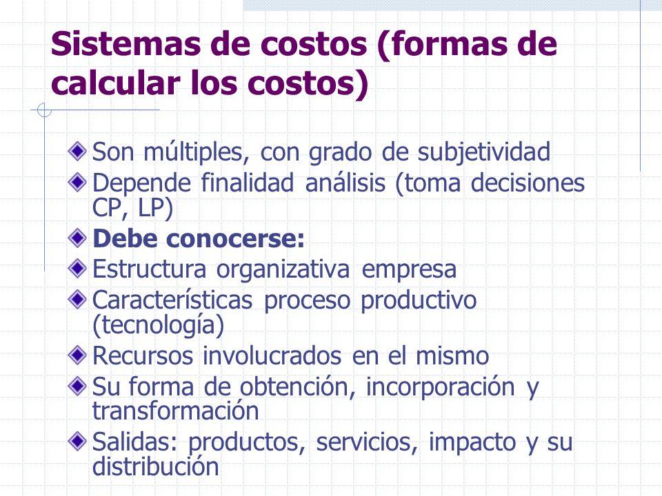 Sistemas de costos (formas de calcular los costos) Son múltiples, con grado de subjetividad Depende finalidad análisis (toma decisiones CP, LP) Debe c