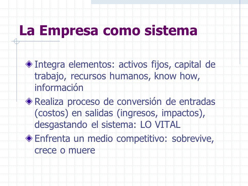 La Empresa como sistema Integra elementos: activos fijos, capital de trabajo, recursos humanos, know how, información Realiza proceso de conversión de