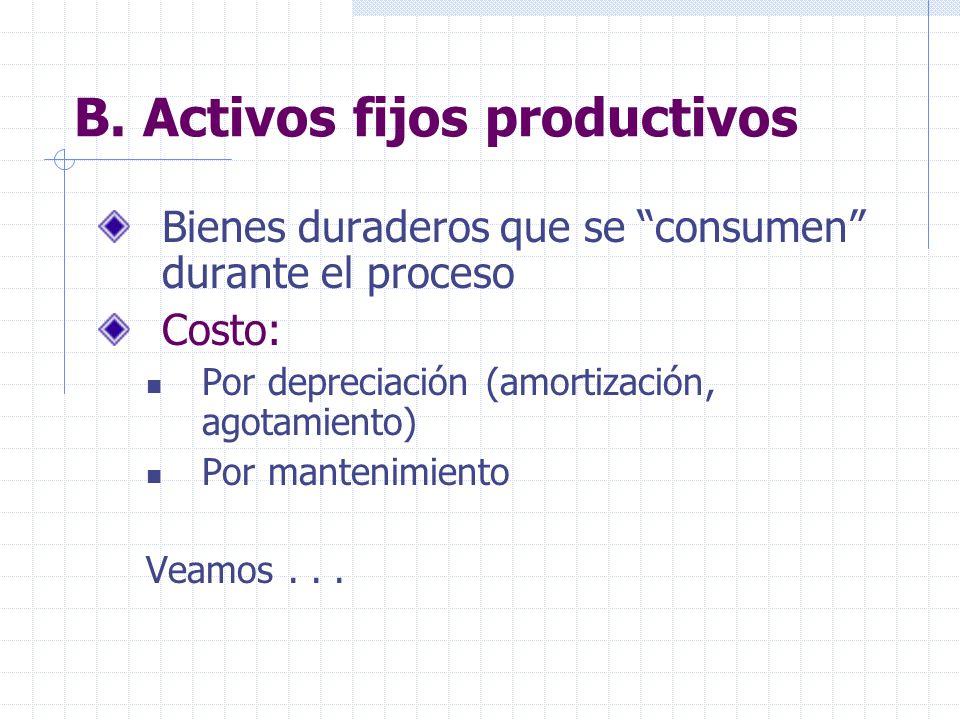 B. Activos fijos productivos Bienes duraderos que se consumen durante el proceso Costo: Por depreciación (amortización, agotamiento) Por mantenimiento