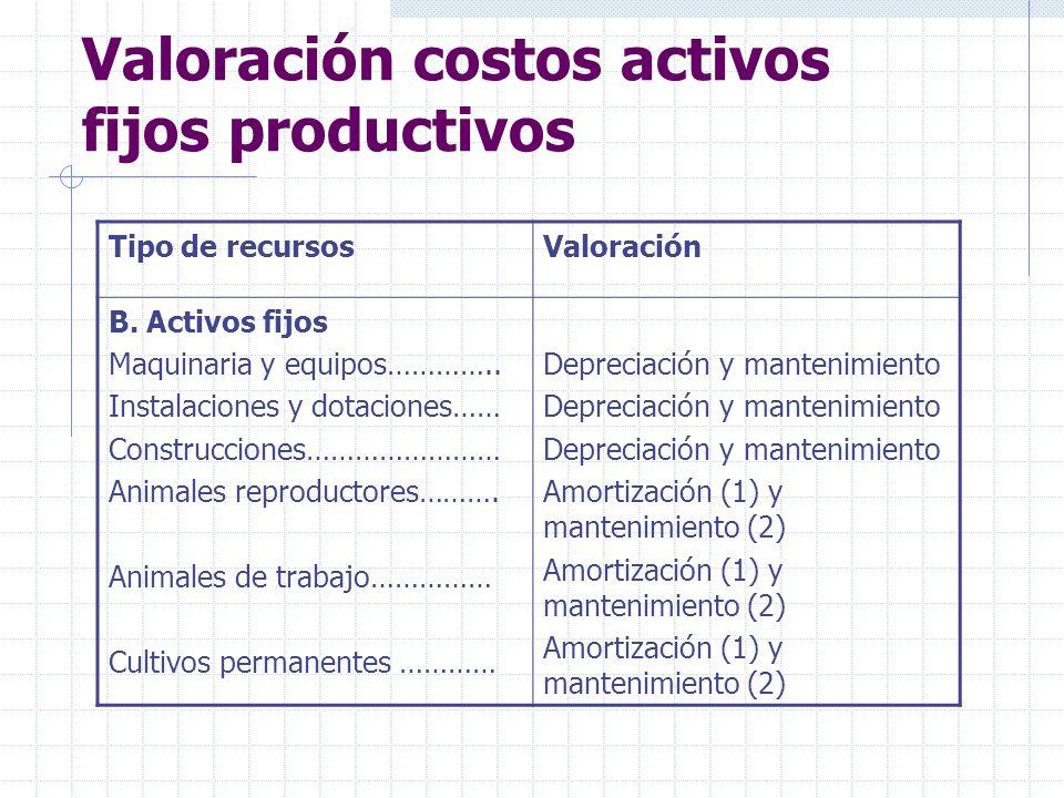 Valoración costos activos fijos productivos Tipo de recursosValoración B. Activos fijos Maquinaria y equipos………….. Instalaciones y dotaciones…… Constr