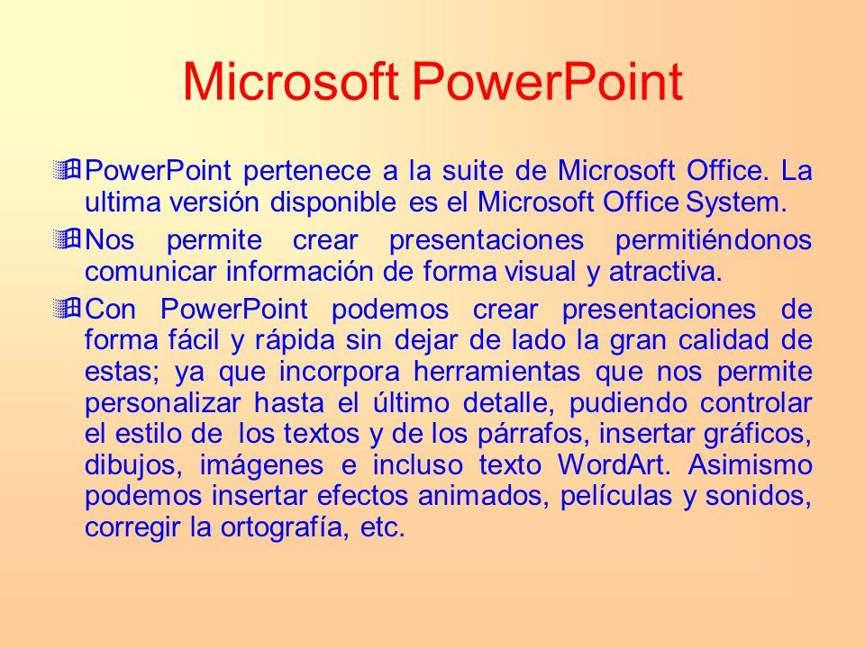 Microsoft PowerPoint PowerPoint pertenece a la suite de Microsoft Office. La ultima versión disponible es el Microsoft Office System. Nos permite crea