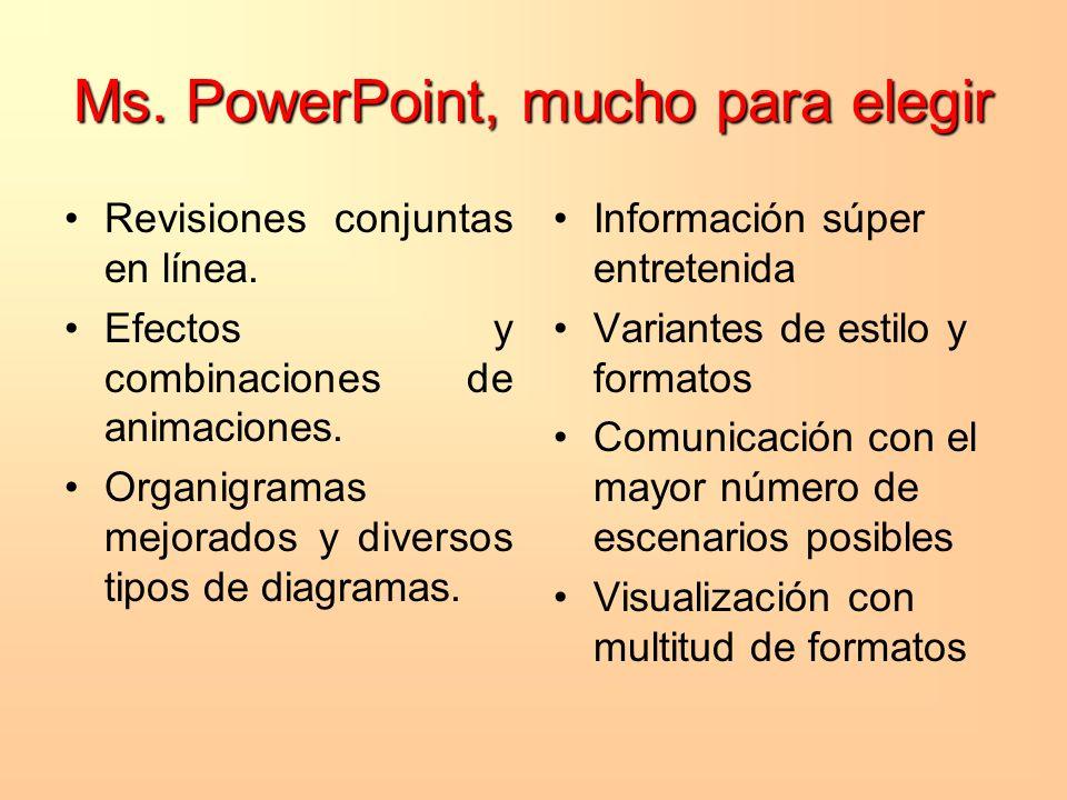 Ms. PowerPoint, mucho para elegir Revisiones conjuntas en línea. Efectos y combinaciones de animaciones. Organigramas mejorados y diversos tipos de di