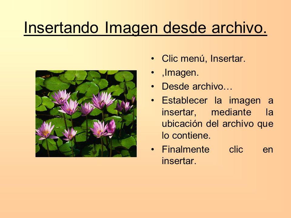 Insertando Imagen desde archivo. Clic menú, Insertar.,Imagen. Desde archivo… Establecer la imagen a insertar, mediante la ubicación del archivo que lo