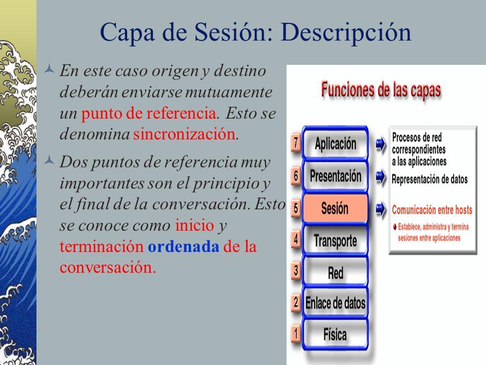 Capa de Sesión: Descripción En este caso origen y destino deberán enviarse mutuamente un punto de referencia. Esto se denomina sincronización. Dos pun