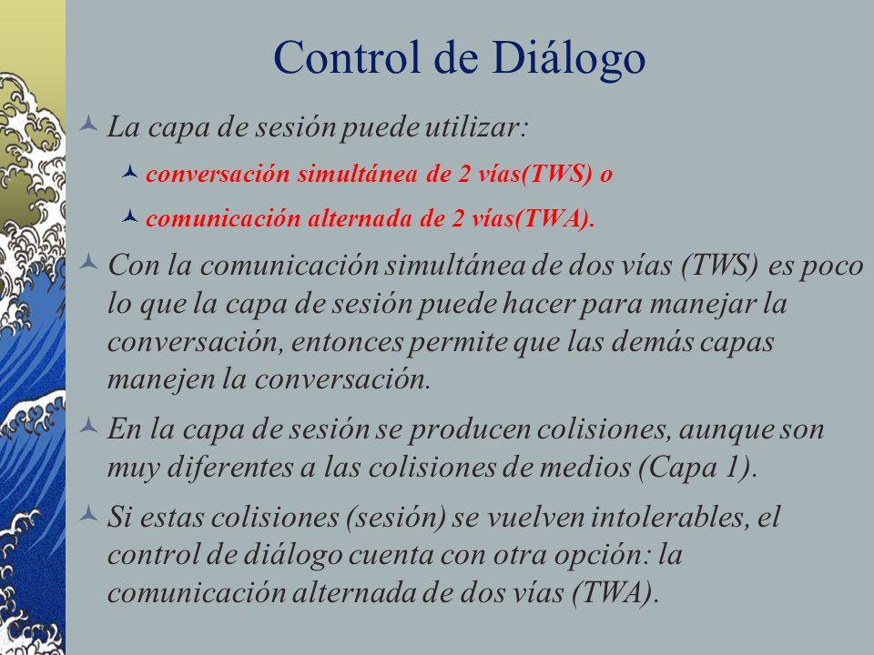 Control de Diálogo La capa de sesión puede utilizar: conversación simultánea de 2 vías(TWS) o comunicación alternada de 2 vías(TWA). Con la comunicaci