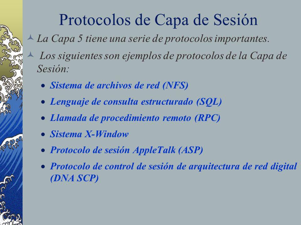 Protocolos de Capa de Sesión La Capa 5 tiene una serie de protocolos importantes. Los siguientes son ejemplos de protocolos de la Capa de Sesión: Sist