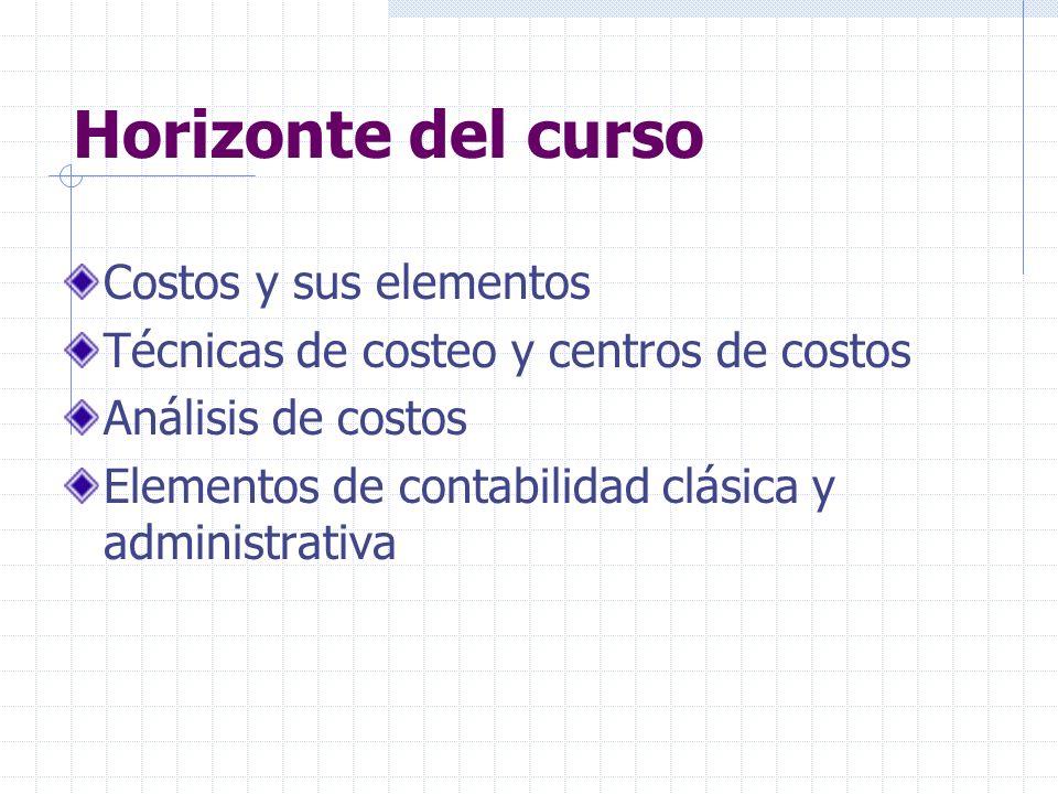 Horizonte del curso Costos y sus elementos Técnicas de costeo y centros de costos Análisis de costos Elementos de contabilidad clásica y administrativ