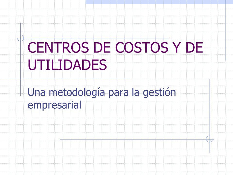 CENTROS DE COSTOS Y DE UTILIDADES Una metodología para la gestión empresarial