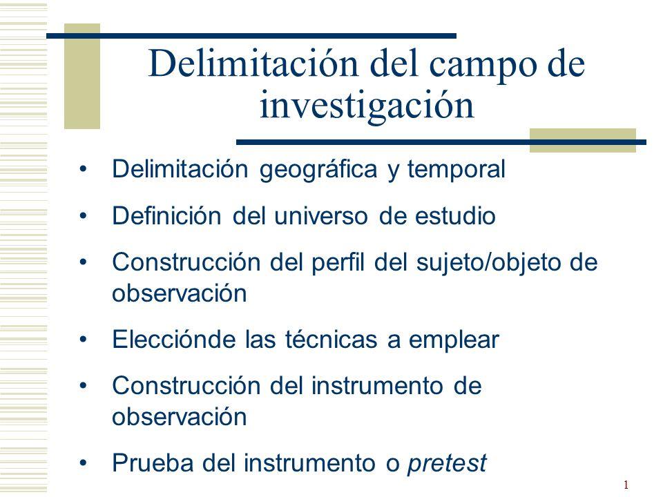 1 Delimitación del campo de investigación Delimitación geográfica y temporal Definición del universo de estudio Construcción del perfil del sujeto/obj