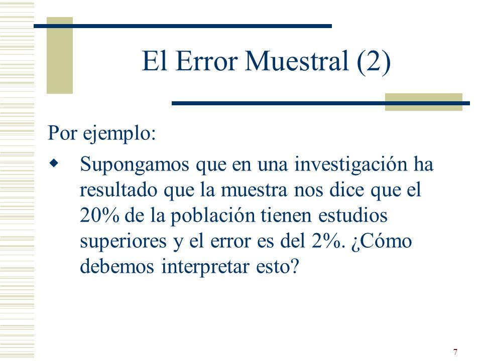 7 El Error Muestral (2) Por ejemplo: Supongamos que en una investigación ha resultado que la muestra nos dice que el 20% de la población tienen estudi