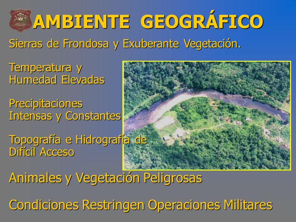 AMBIENTE GEOGRÁFICO Sierras de Frondosa y Exuberante Vegetación. Temperatura y Humedad Elevadas Precipitaciones Intensas y Constantes Topografía e Hid