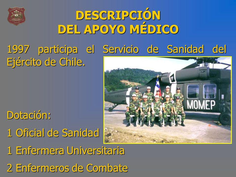 DESCRIPCIÓN DEL APOYO MÉDICO 1997 participa el Servicio de Sanidad del Ejército de Chile. Dotación: 1 Oficial de Sanidad 1 Enfermera Universitaria 2 E