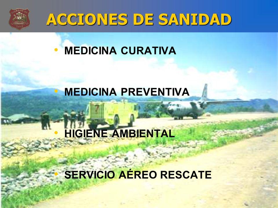 ACCIONES DE SANIDAD MEDICINA CURATIVA MEDICINA PREVENTIVA HIGIENE AMBIENTAL SERVICIO AÉREO RESCATE