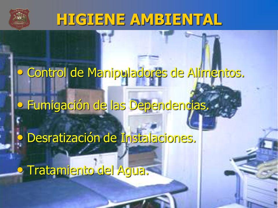 HIGIENE AMBIENTAL Control de Manipuladores de Alimentos. Control de Manipuladores de Alimentos. Fumigación de las Dependencias. Fumigación de las Depe