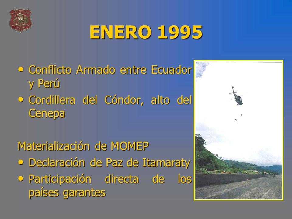 ENERO 1995 Conflicto Armado entre Ecuador y Perú Conflicto Armado entre Ecuador y Perú Cordillera del Cóndor, alto del Cenepa Cordillera del Cóndor, a