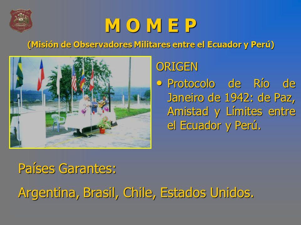MISIÓN DE LA MOMEP - Separación de las Fuerzas.- Creación de un área desmilitarizada.