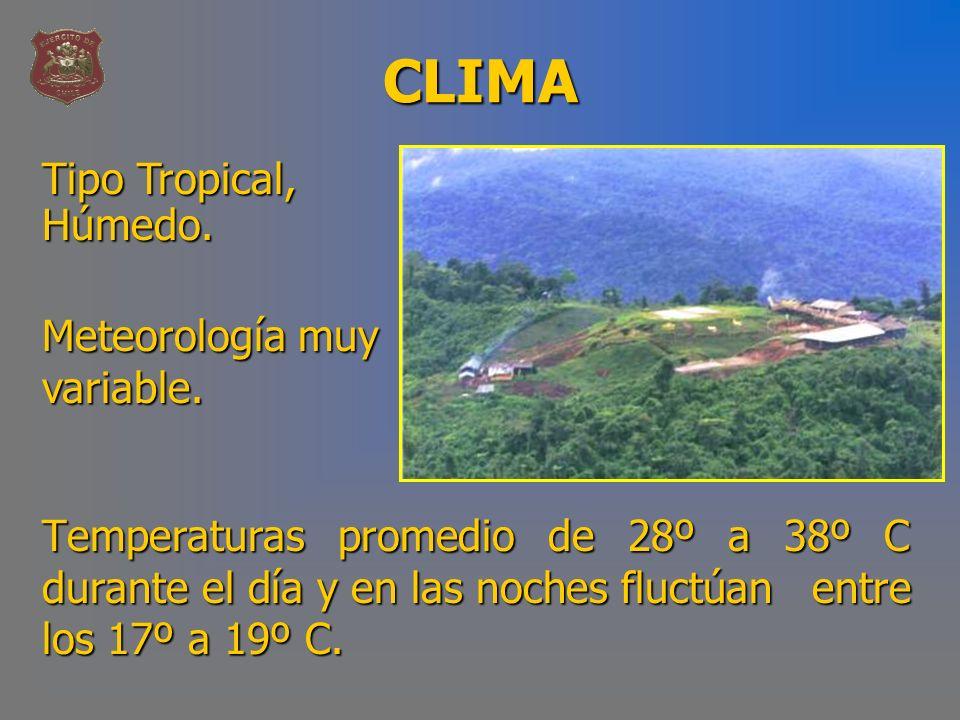 CLIMA Temperaturas promedio de 28º a 38º C durante el día y en las noches fluctúan entre los 17º a 19º C. Tipo Tropical, Húmedo. Meteorología muy vari