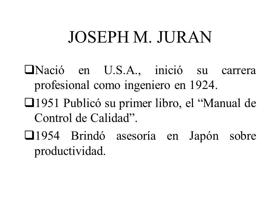 JOSEPH M. JURAN Nació en U.S.A., inició su carrera profesional como ingeniero en 1924. 1951 Publicó su primer libro, el Manual de Control de Calidad.
