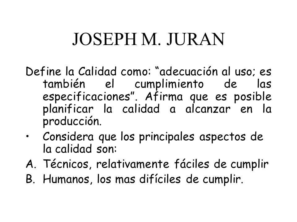 JOSEPH M. JURAN Define la Calidad como: adecuación al uso; es también el cumplimiento de las especificaciones. Afirma que es posible planificar la cal