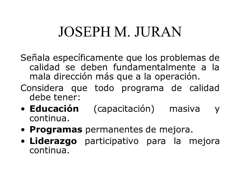 JOSEPH M. JURAN Señala específicamente que los problemas de calidad se deben fundamentalmente a la mala dirección más que a la operación. Considera qu