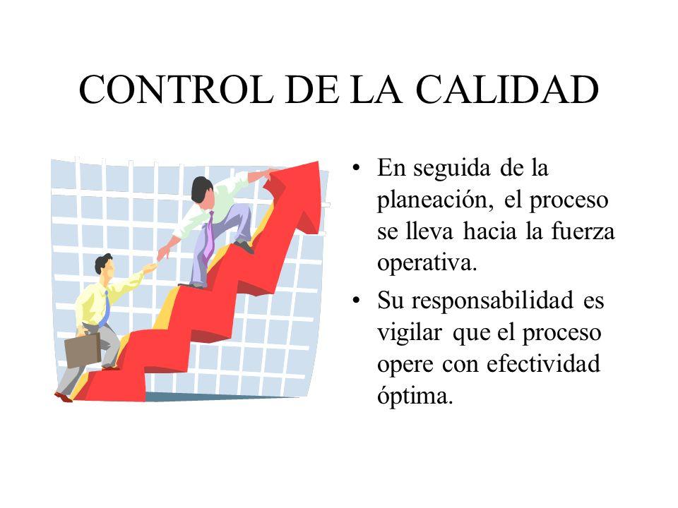 CONTROL DE LA CALIDAD En seguida de la planeación, el proceso se lleva hacia la fuerza operativa. Su responsabilidad es vigilar que el proceso opere c