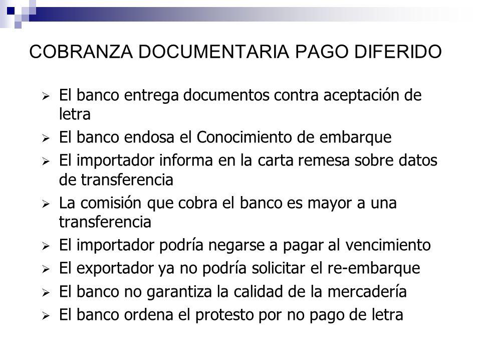 COBRANZA DOCUMENTARIA VISTA Se encarga al banco la entrega de documentos, contra el pago de la factura de importación El banco endosa el Conocimiento
