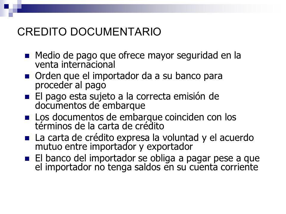 BANCO EXPORTADOR BANCO IMPORTADOR EXPORTADORIMPORTADOR COBRANZA DOCUMENTARIA Le encarga la cobranza de la factura, por medio una carta remesa Le avisa