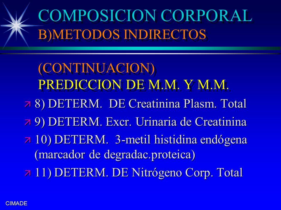 CIMADE COMPOSICION CORPORAL B)METODOS INDIRECTOS (CONTINUACION) PREDICCION DE M.M. Y M.M. ä 8) DETERM. DE Creatinina Plasm. Total ä 9) DETERM. Excr. U