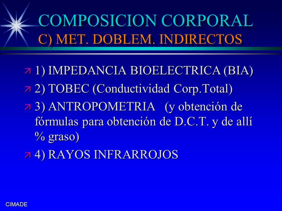CIMADE COMPOSICION CORPORAL C) MET. DOBLEM. INDIRECTOS ä 1) IMPEDANCIA BIOELECTRICA (BIA) ä 2) TOBEC (Conductividad Corp.Total) ä 3) ANTROPOMETRIA (y