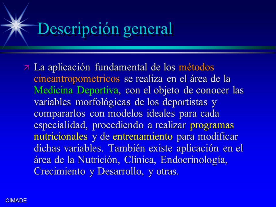 CIMADE Descripción general ä La aplicación fundamental de los métodos cineantropometricos se realiza en el área de la Medicina Deportiva, con el objet