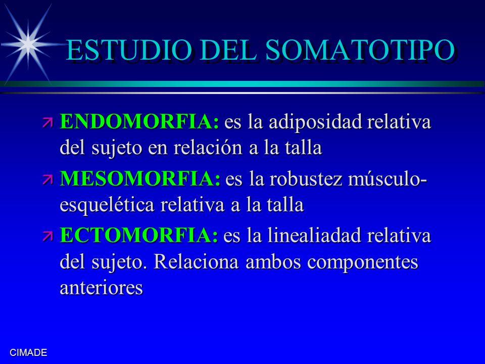 CIMADE ESTUDIO DEL SOMATOTIPO ä ENDOMORFIA: es la adiposidad relativa del sujeto en relación a la talla ä MESOMORFIA: es la robustez músculo- esquelét