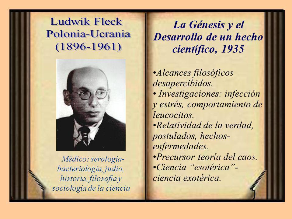 La Génesis y el Desarrollo de un hecho científico, 1935 Alcances filosóficos desapercibidos. Investigaciones: infección y estrés, comportamiento de le