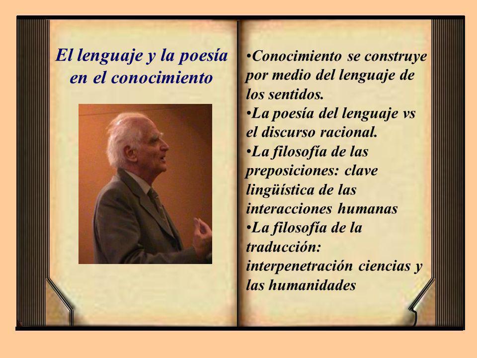 Conocimiento se construye por medio del lenguaje de los sentidos. La poesía del lenguaje vs el discurso racional. La filosofía de las preposiciones: c