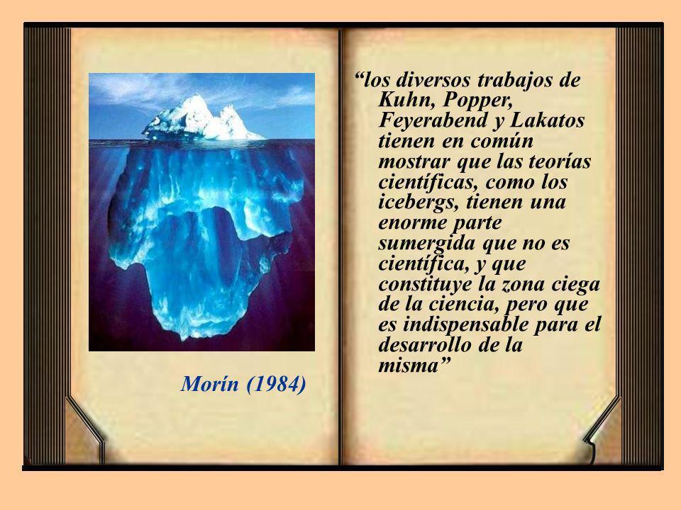 los diversos trabajos de Kuhn, Popper, Feyerabend y Lakatos tienen en común mostrar que las teorías científicas, como los icebergs, tienen una enorme