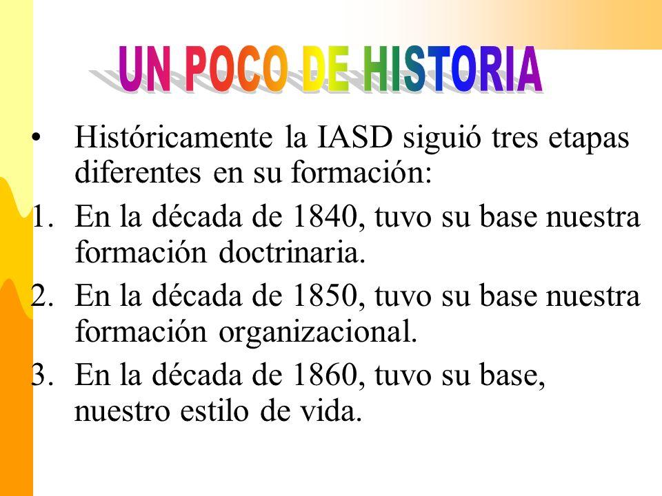 Históricamente la IASD siguió tres etapas diferentes en su formación: 1.En la década de 1840, tuvo su base nuestra formación doctrinaria. 2.En la déca