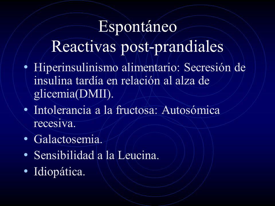 Espontáneo Reactivas post-prandiales Hiperinsulinismo alimentario: Secresión de insulina tardía en relación al alza de glicemia(DMII). Intolerancia a