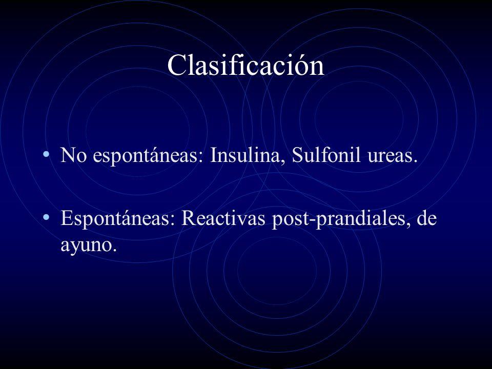 Clasificación No espontáneas: Insulina, Sulfonil ureas. Espontáneas: Reactivas post-prandiales, de ayuno.