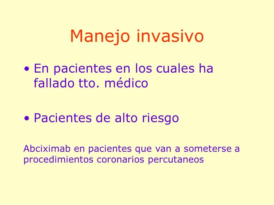 Manejo invasivo En pacientes en los cuales ha fallado tto. médico Pacientes de alto riesgo Abciximab en pacientes que van a someterse a procedimientos
