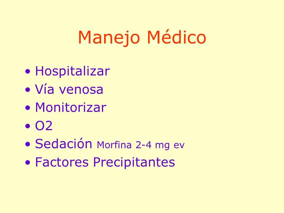 Manejo Médico Hospitalizar Vía venosa Monitorizar O2 Sedación Morfina 2-4 mg ev Factores Precipitantes