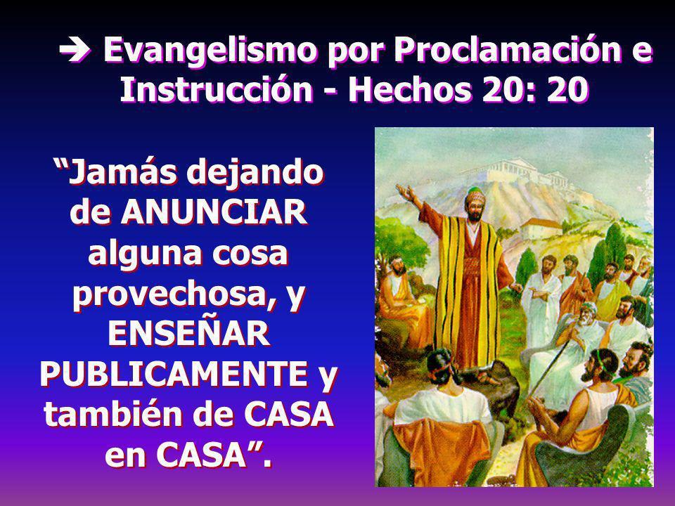 Evangelismo por Proclamación e Instrucción - Hechos 20: 20 Jamás dejando de ANUNCIAR alguna cosa provechosa, y ENSEÑAR PUBLICAMENTE y también de CASA