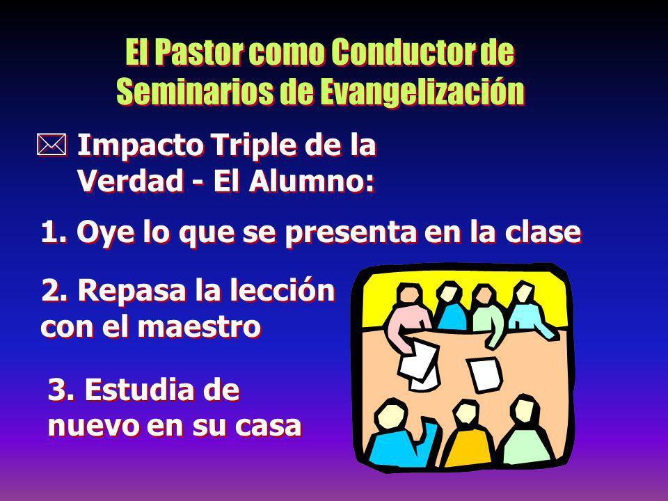 El Pastor como Conductor de Seminarios de Evangelización Impacto Triple de la Verdad - El Alumno: 1. Oye lo que se presenta en la clase 2. Repasa la l