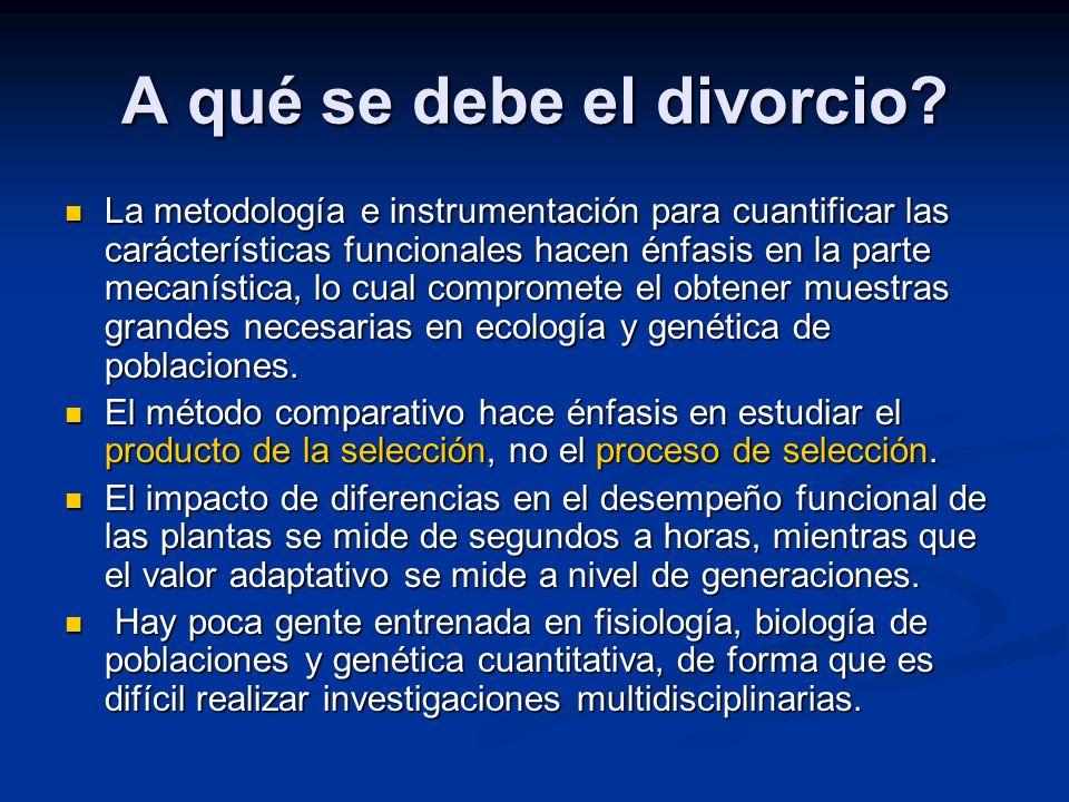 A qué se debe el divorcio? La metodología e instrumentación para cuantificar las carácterísticas funcionales hacen énfasis en la parte mecanística, lo