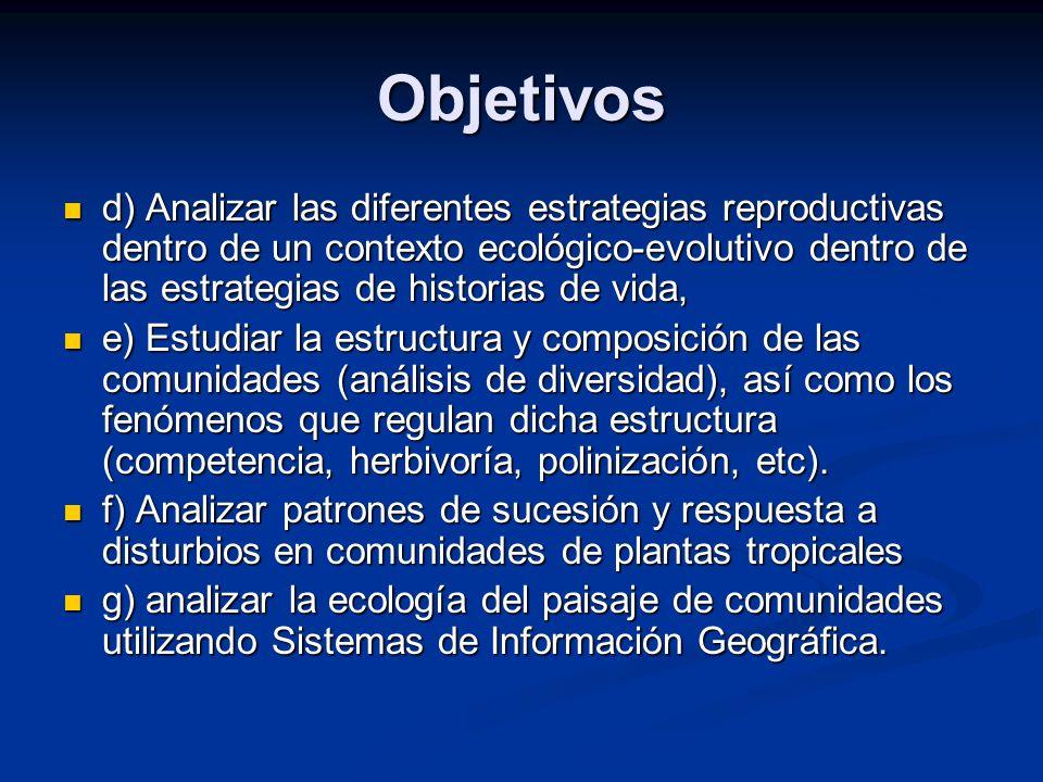 Objetivos d) Analizar las diferentes estrategias reproductivas dentro de un contexto ecológico-evolutivo dentro de las estrategias de historias de vid