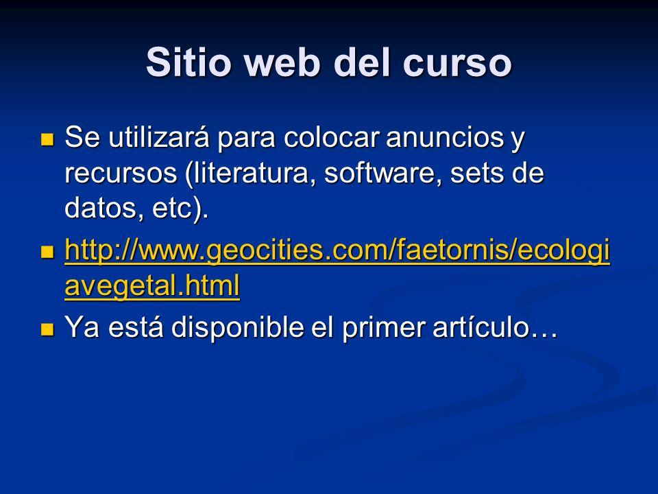 Sitio web del curso Se utilizará para colocar anuncios y recursos (literatura, software, sets de datos, etc). Se utilizará para colocar anuncios y rec