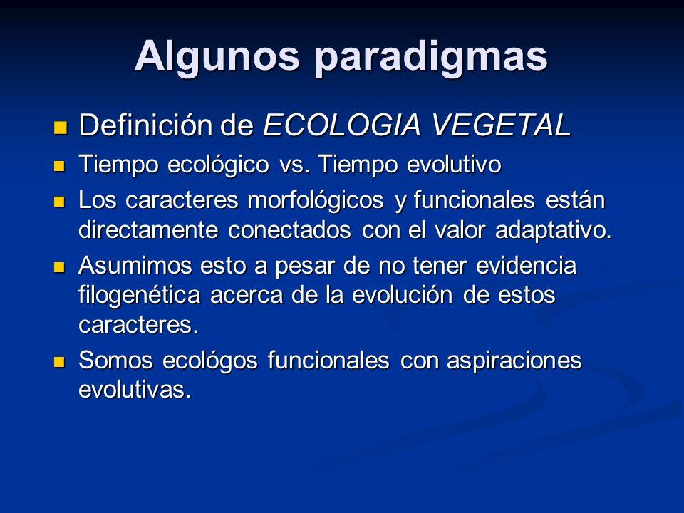 Algunos paradigmas Definición de ECOLOGIA VEGETAL Definición de ECOLOGIA VEGETAL Tiempo ecológico vs. Tiempo evolutivo Tiempo ecológico vs. Tiempo evo