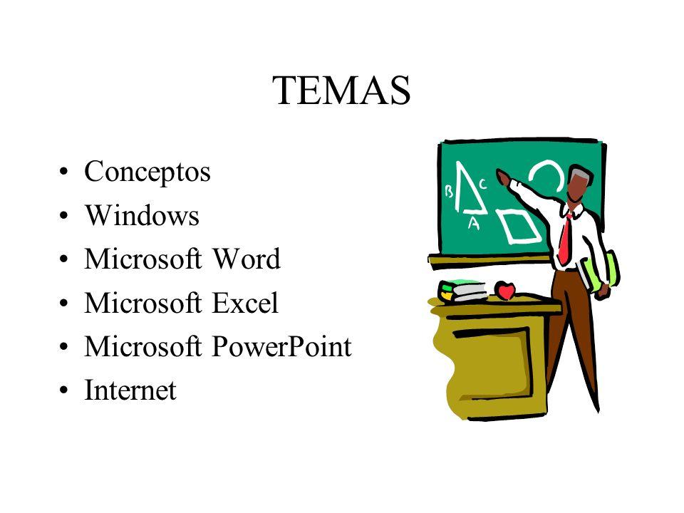 TEMAS Conceptos Windows Microsoft Word Microsoft Excel Microsoft PowerPoint Internet