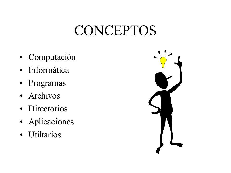 CONCEPTOS Computación Informática Programas Archivos Directorios Aplicaciones Utiltarios