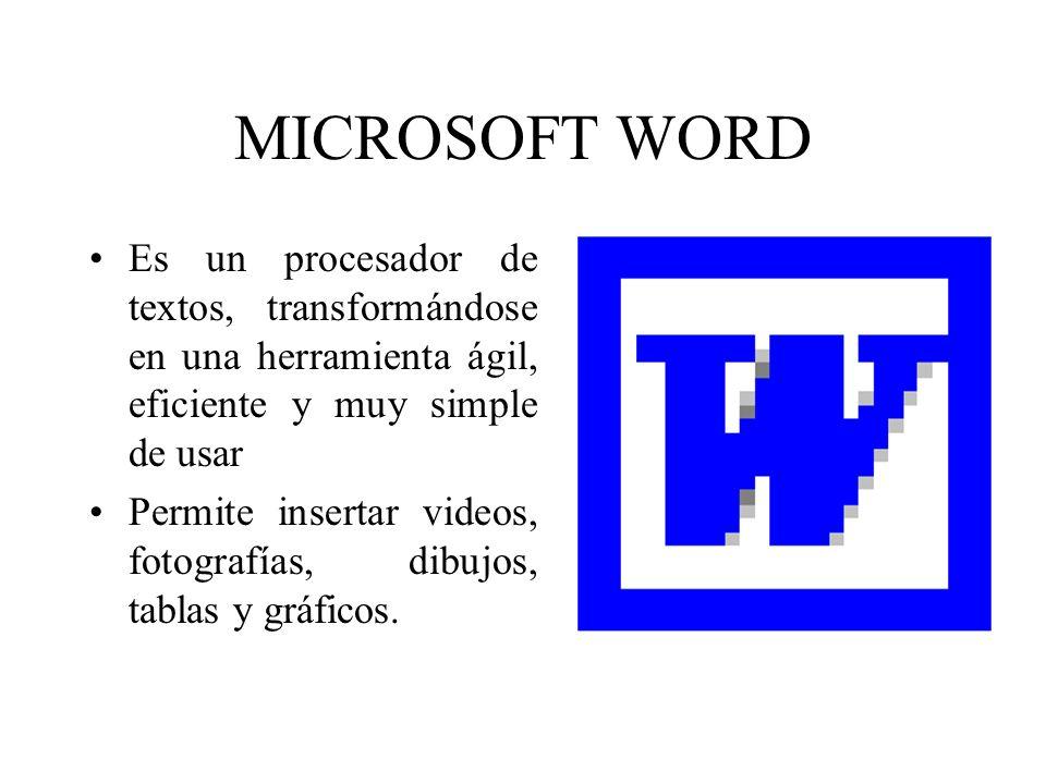 MICROSOFT WORD Es un procesador de textos, transformándose en una herramienta ágil, eficiente y muy simple de usar Permite insertar videos, fotografía
