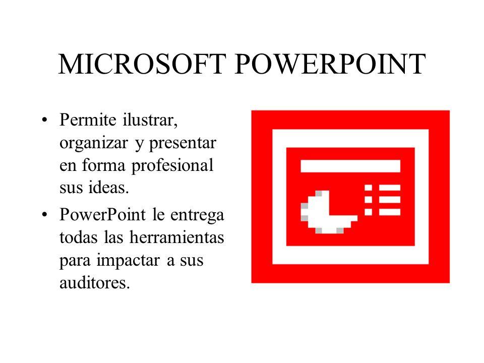 MICROSOFT POWERPOINT Permite ilustrar, organizar y presentar en forma profesional sus ideas. PowerPoint le entrega todas las herramientas para impacta