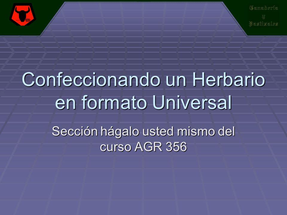 Confeccionando un Herbario en formato Universal Sección hágalo usted mismo del curso AGR 356